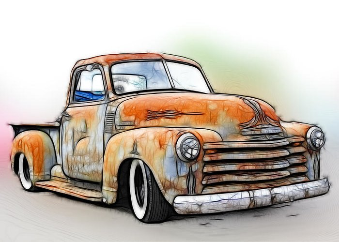 1950 Chevy Truck Greeting Card For Sale By Steve Mckinzie