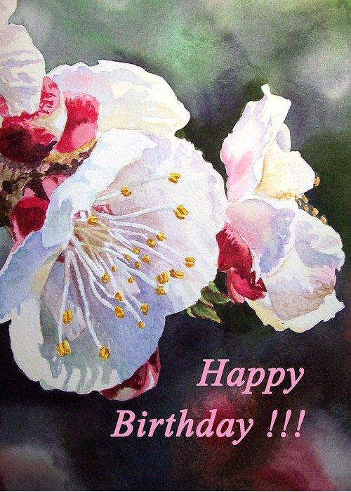 Happy Birthday Card Apricot Flowers Greeting Card For Sale By Irina Sztukowski