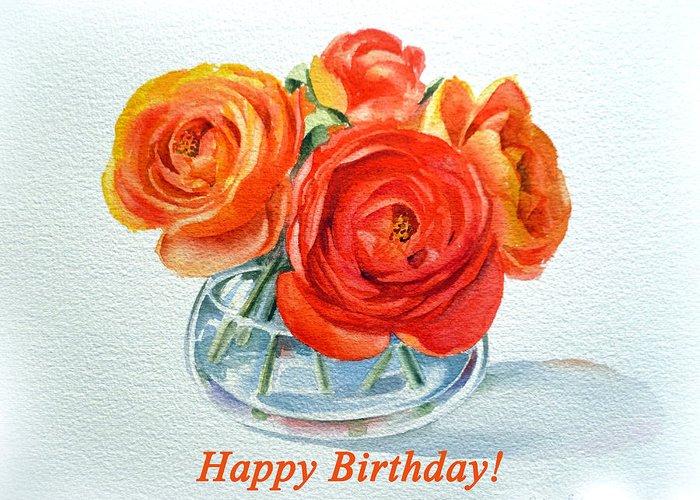 Happy Birthday Card Flowers Greeting Card For Sale By Irina Sztukowski
