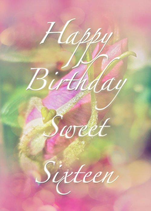 Sweet Sixteen Birthday Greeting Card Rosebud Greeting Card For Sale By Carol Senske