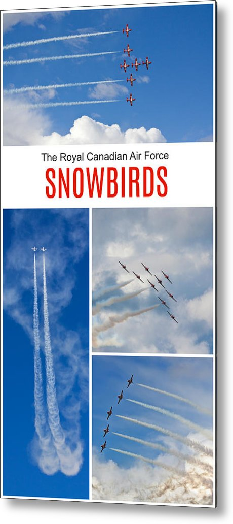 Acrobatic Flight Metal Print featuring the photograph The Snowbirds Collage by Tatiana Travelways