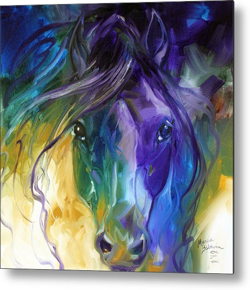 Blue Roan Abstract Metal Print By Marcia Baldwin
