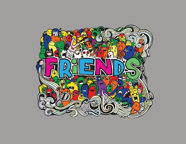 hipster doodle monster collage background friends and friendly relationship social poster