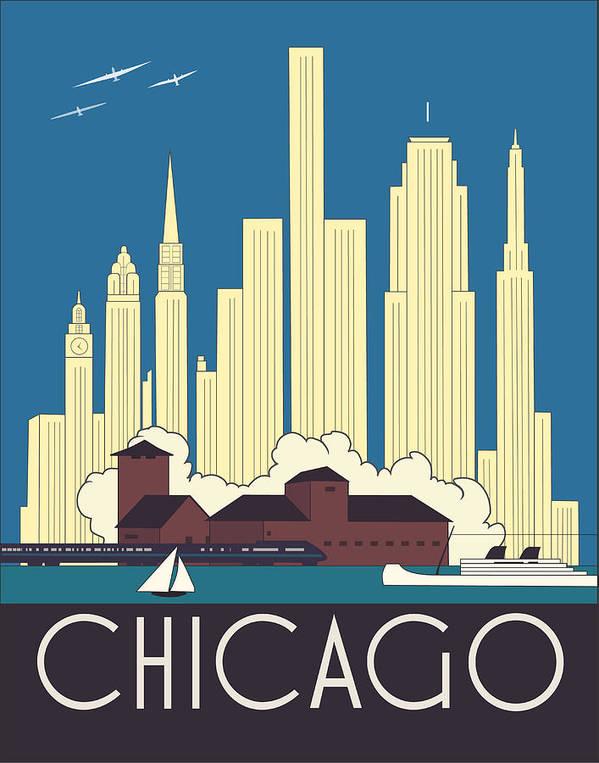 chicago art deco skyline poster