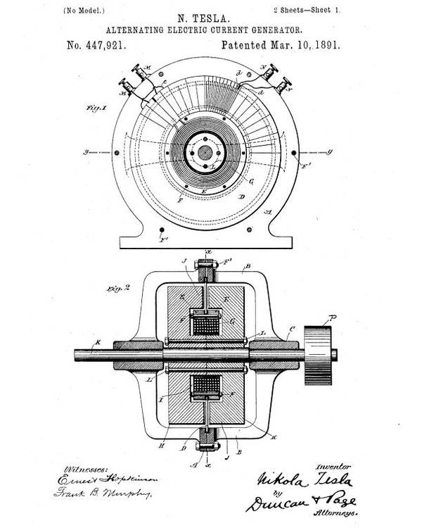 alternating electric current generator nikola tesla patent drawing from 1891 black and white poster