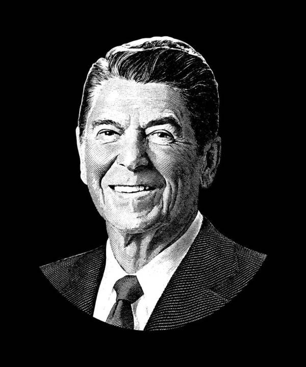 president ronald reagan graphic black and white poster