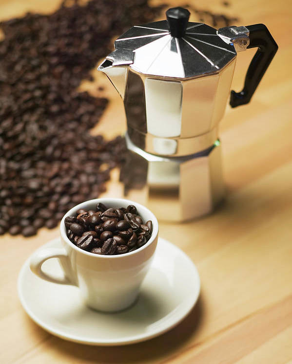 espresso coffee maker and coffee beans poster