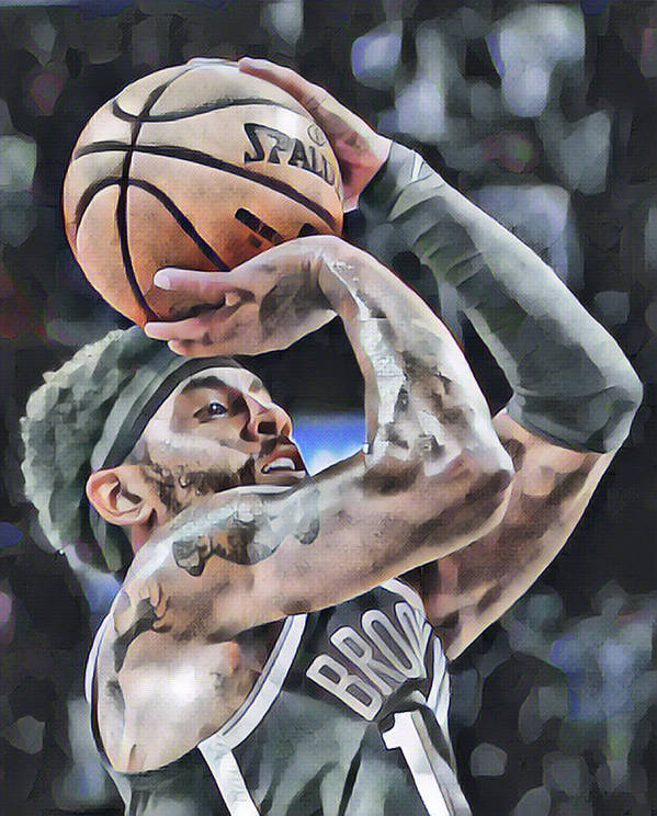 kyrie irving brooklyn nets abstract art 1 poster