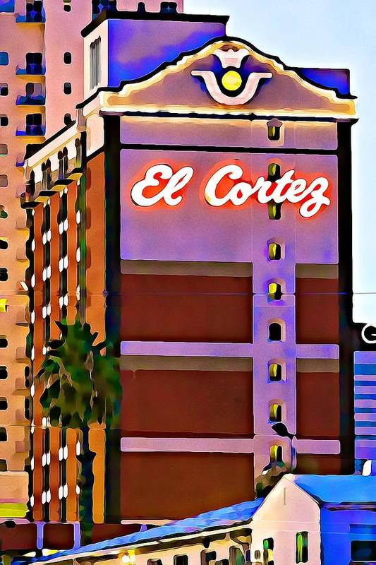 El Cortez Hotel Art Print featuring the photograph El Cortez Hotel At Dusk by Tatiana Travelways