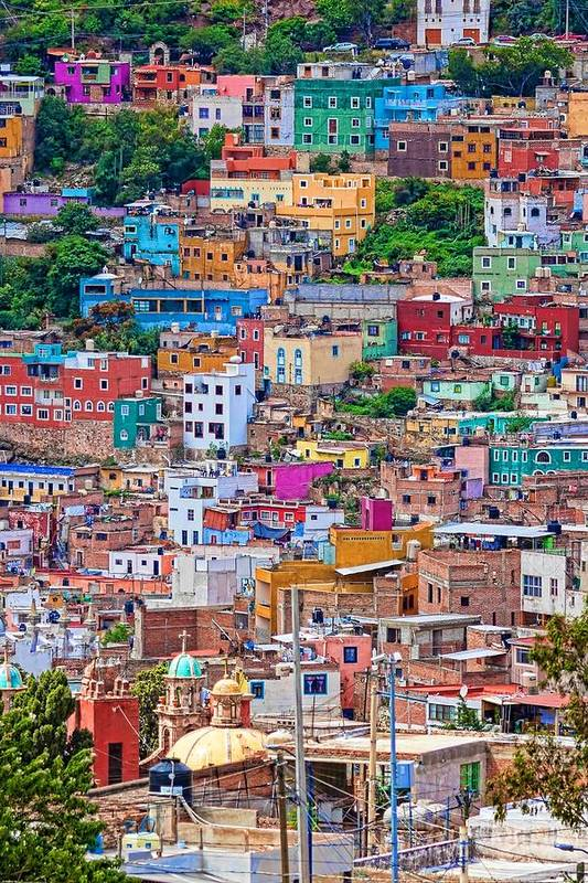 Colorful Houses Art Print featuring the photograph Colorful Houses In Guanajuato 2 by Tatiana Travelways