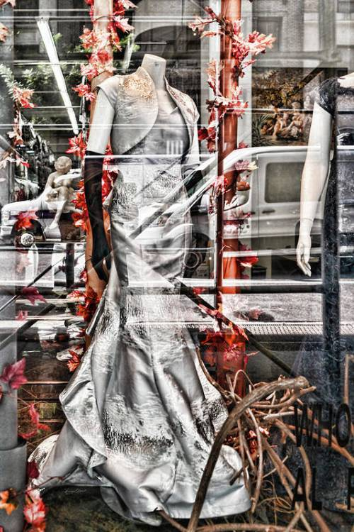 A silver dress with red and orange leaves on the inside. City life on the outside