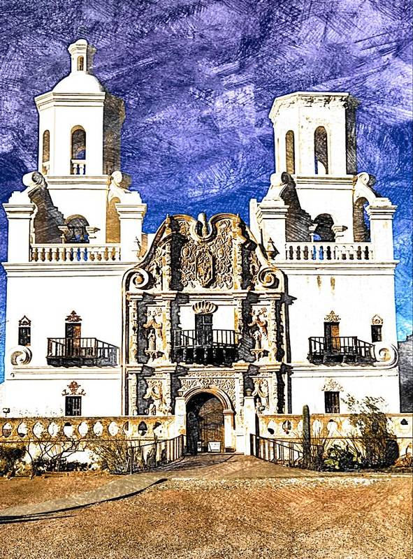 San Xavier Del Bac Art Print featuring the photograph Mission San Xavier Del Bac by Tatiana Travelways