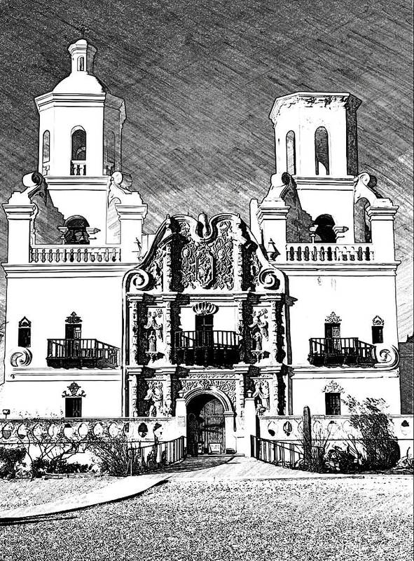 Mission San Xavier del Bac black&white digital sketch