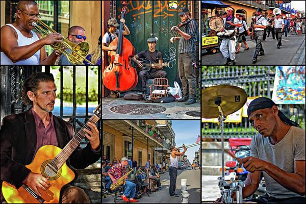 French Quarter Art Print featuring the photograph French Quarter Musicians Collage by Steve Harrington