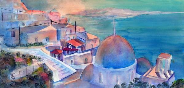 Aegean Sea Art Print featuring the painting Sunrise In Oia Santorini Greece by Sabina Von Arx