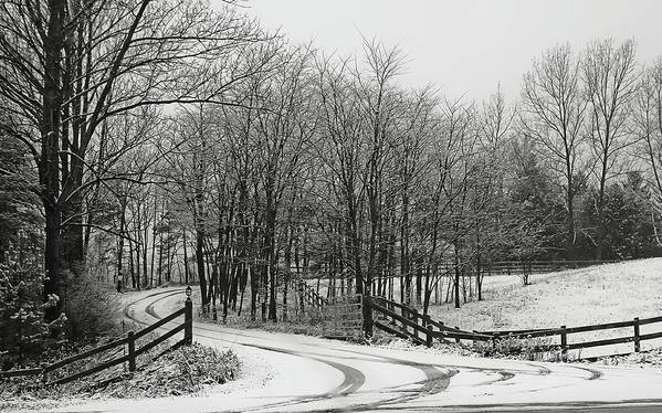 Road Art Print featuring the photograph Road In The Snow Black And White by Tatiana Travelways
