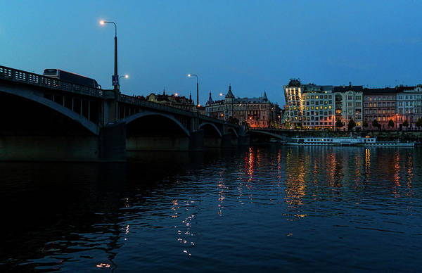 Prague skyline at night by Sharon Popek