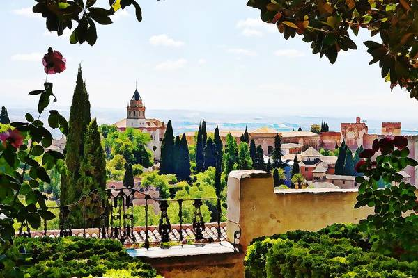 Alhambra Gardens Art Print featuring the photograph Alhambra Gardens, Digital Paint by Tatiana Travelways