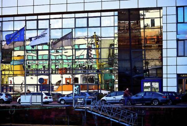 Bremerhaven harbor window reflections urban art