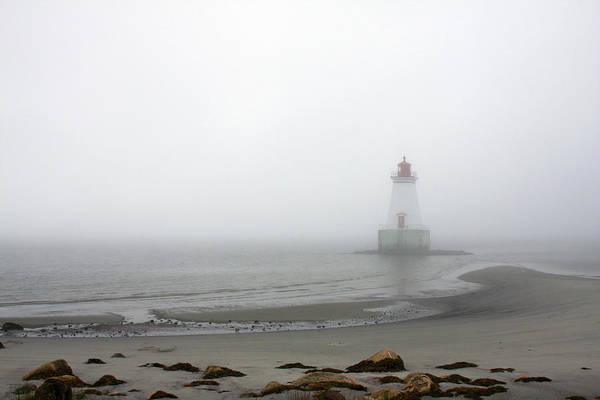 Sandy Point Lighthouse Art Print featuring the photograph Lighthouse In The Fog by Tatiana Travelways