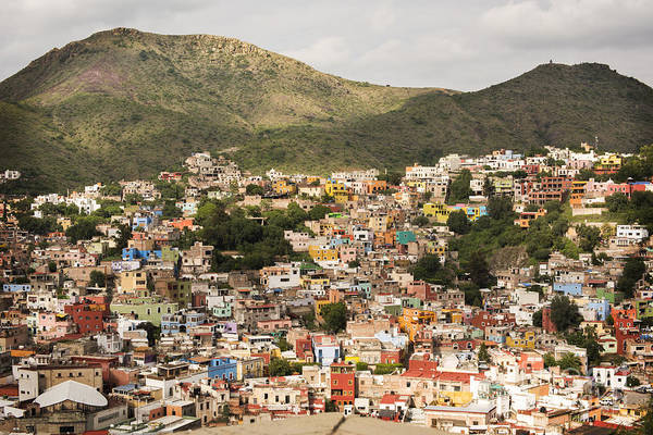 Panoramic View Of Colorful Hillside Homes In Guanajuato Mexico