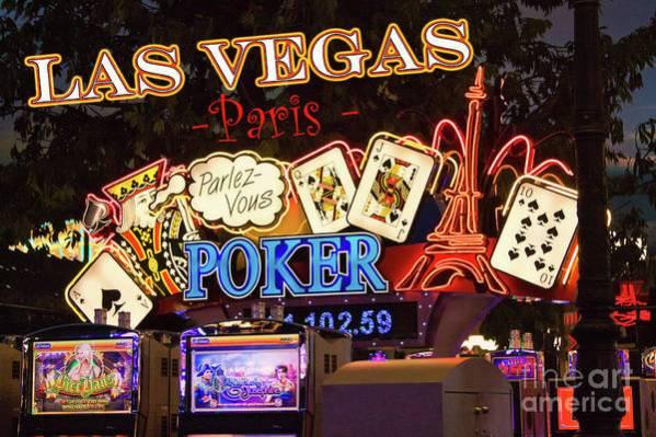Las Vegas Paris Casino Art Print featuring the photograph Parlez Vous Poker by Tatiana Travelways