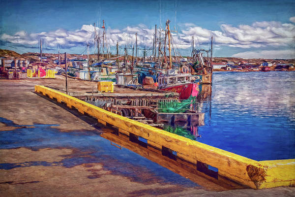 Industrial Fishing Art Print featuring the photograph Industrial Fishing In Newfoundland - Digital Painting by Tatiana Travelways