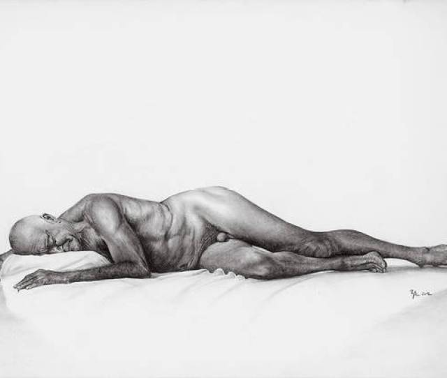 Nude Old Men Art Print Featuring The Drawing Old Man Nude By Laszlo Papp