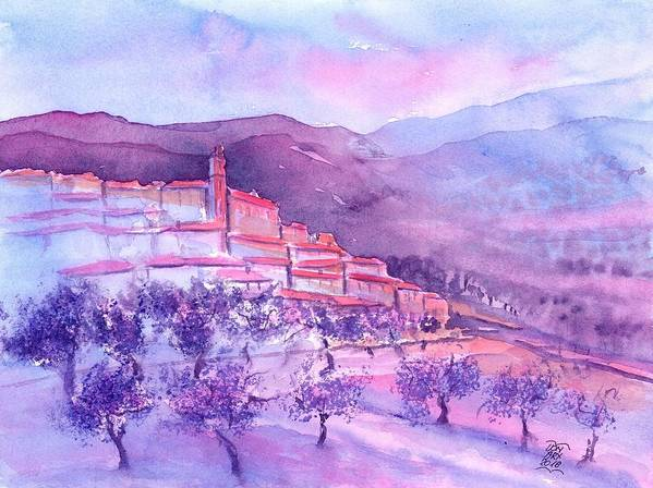 Gordes Art Print featuring the painting Gordes Provence France by Sabina Von Arx