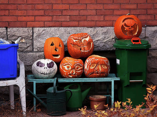 Carved Pumpkins Art Print featuring the photograph After The Party by Tatiana Travelways