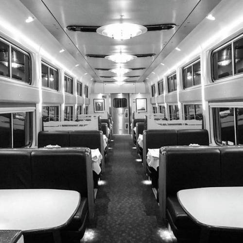 Dining car at night by Sharon Popek