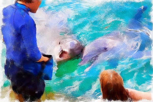 Feeding the dolphins at Xcaret Ecological Park, Mexico