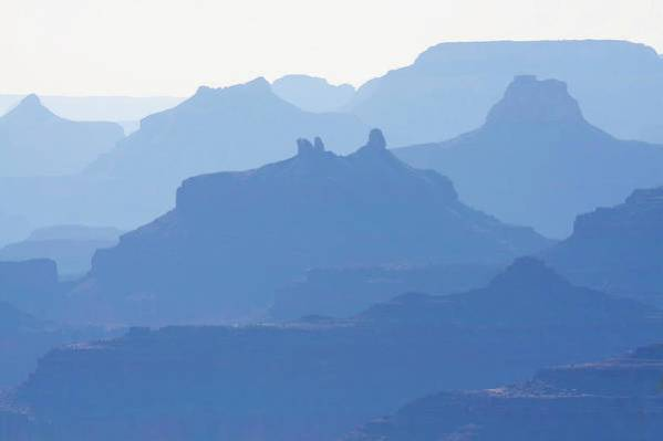 Grand Canyon Art Print featuring the photograph Grand Canyon Blue Silhouettes #2 by Tatiana Travelways