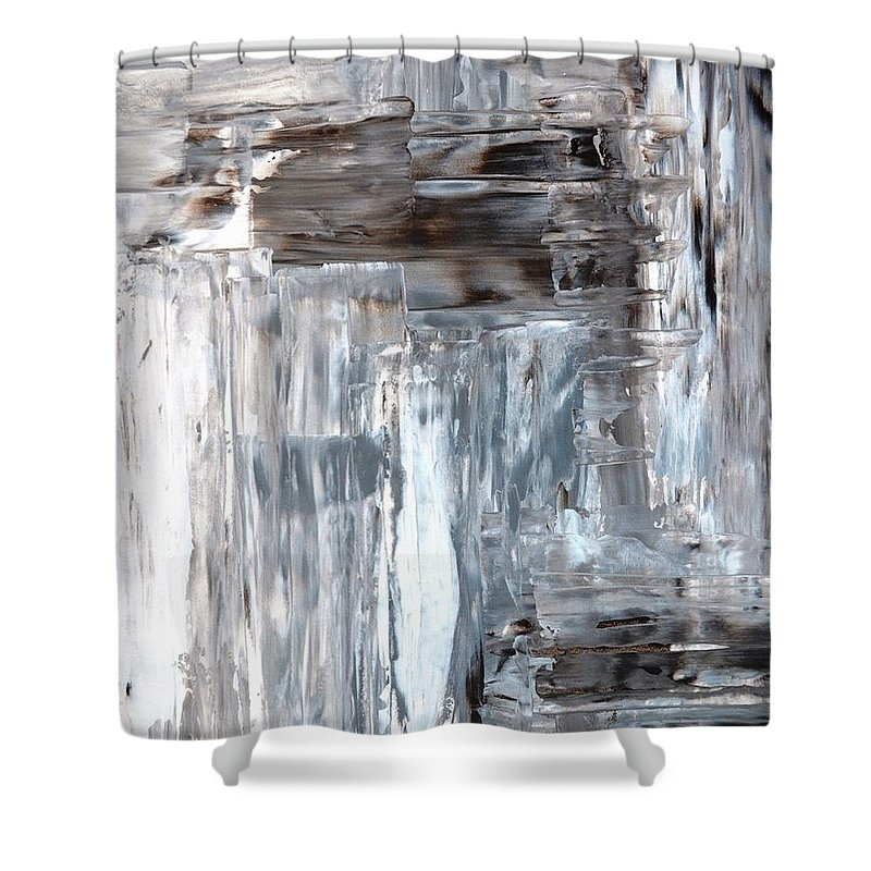 awkward grey and brown abstract art painting shower curtain