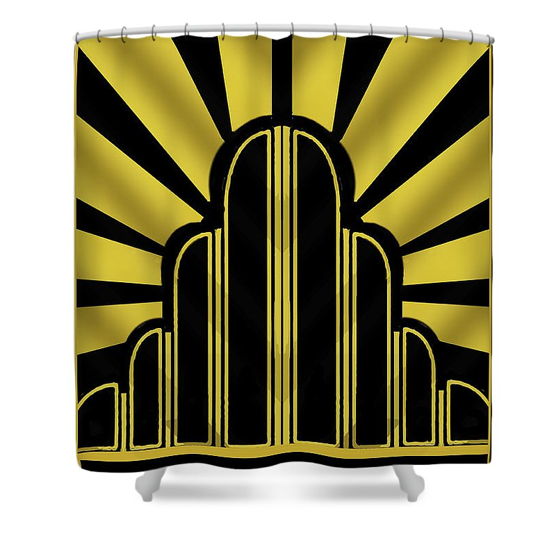 art deco poster title shower curtain