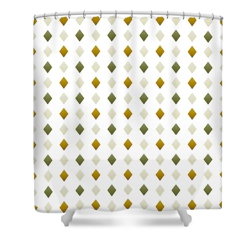 green and gold diamond pattern shower curtain