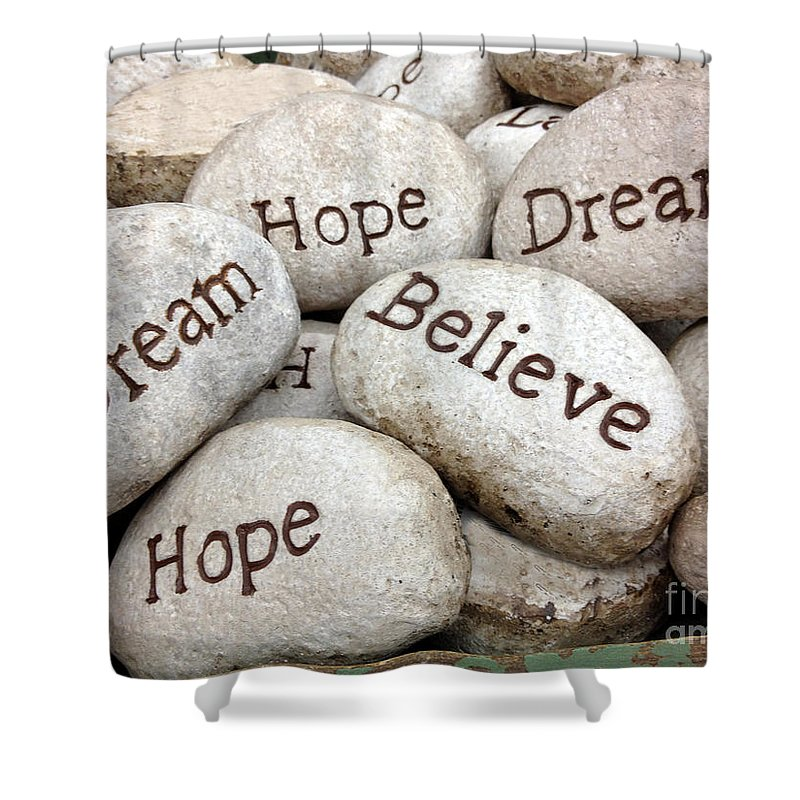 inspirational art dream hope believe live typography words of faith shower curtain