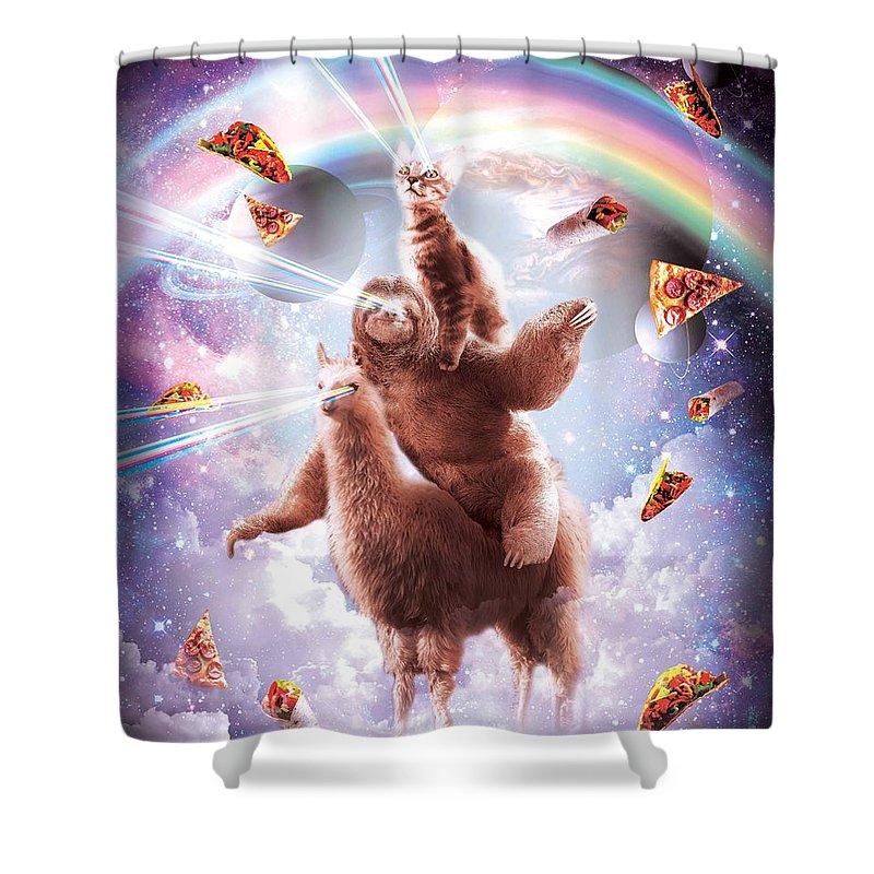 https fineartamerica com featured 1 laser eyes space cat riding sloth llama rainbow random galaxy html product shower curtain