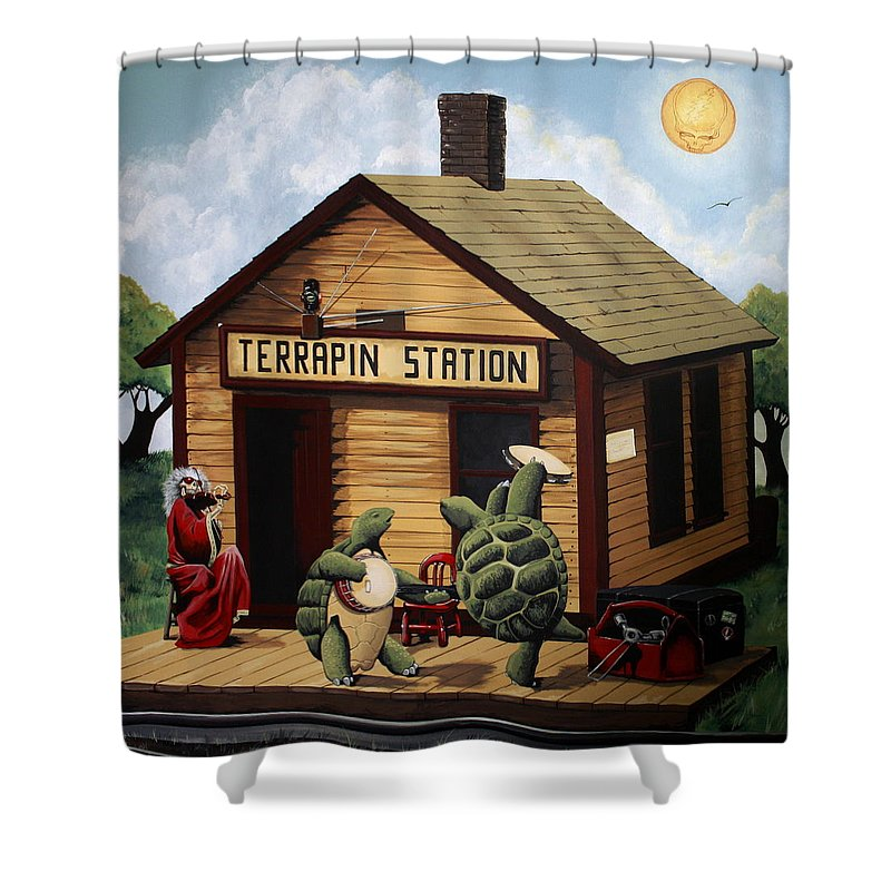 recreation of terrapin station album cover by the grateful dead shower curtain