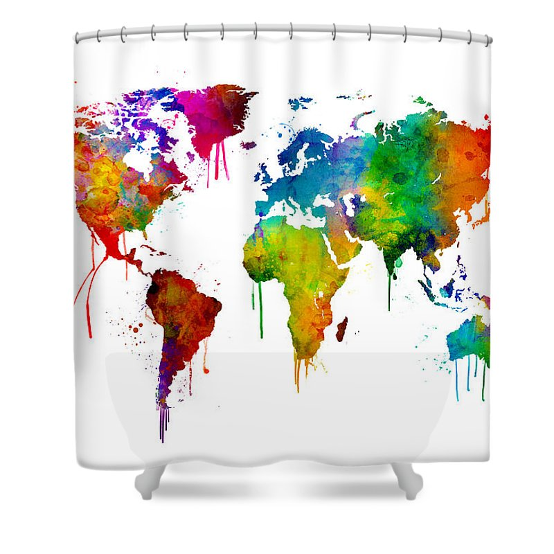 https fineartamerica com featured 5 watercolor map of the world map michael tompsett html product shower curtain