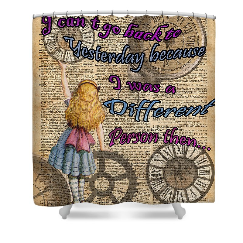 alice in wonderland travelling in time shower curtain