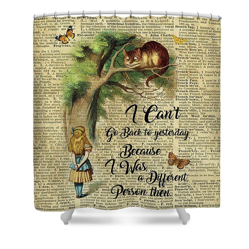 alice in wonderland quote cheshire cat vintage dictionary art shower curtain