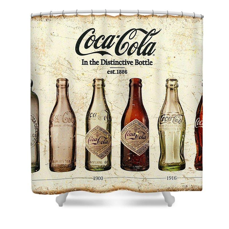 coca cola bottle evolution vintage sign shower curtain