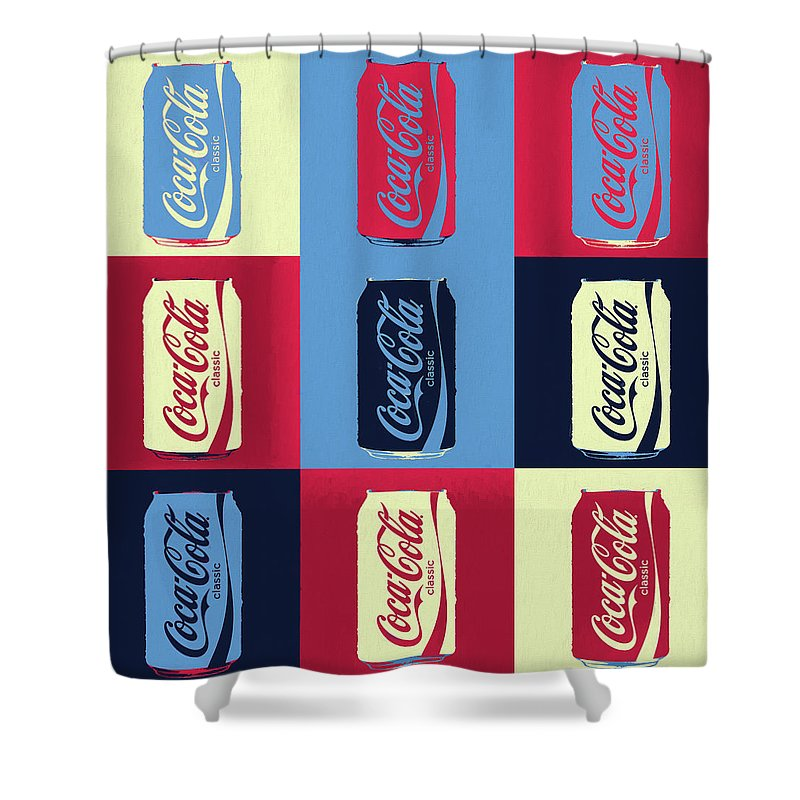 coca cola can pop art shower curtain