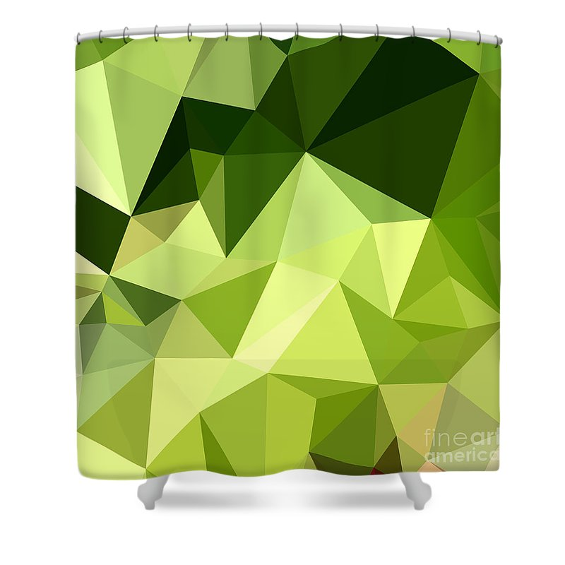 electric lime green abstract low polygon background shower curtain