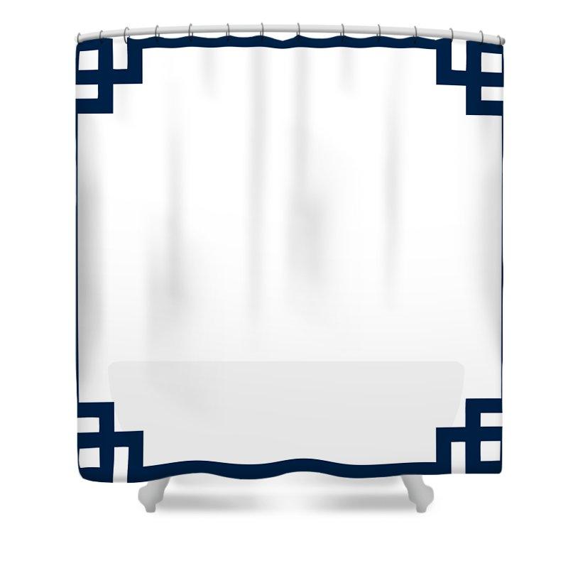 greek key border oxford blue shower curtain