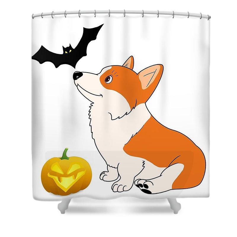 halloween corgi cartoon shower curtain