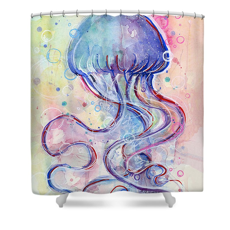 jelly fish watercolor shower curtain