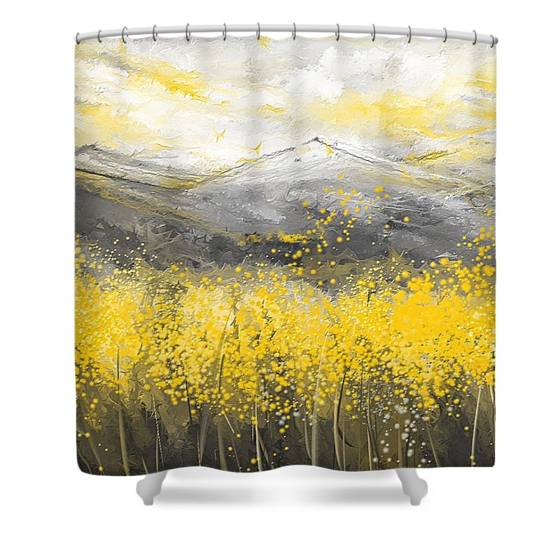 neutral sun yellow and gray art shower curtain