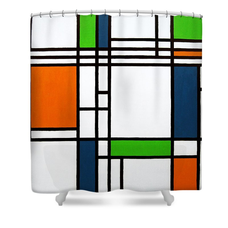 parallel lines composition with blue green and orange in opposition shower curtain